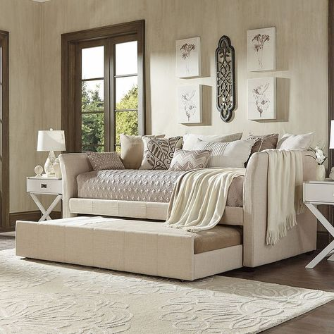 Save space with this sophisticated HomeVance Myra daybed. Daybed Room, Daybed With Trundle, Daybed Bedding, Twin Bedroom Sets, Guest Bedrooms, Teen Bedroom, Traditional Sofa, Guest Room Office, Bedroom Sets