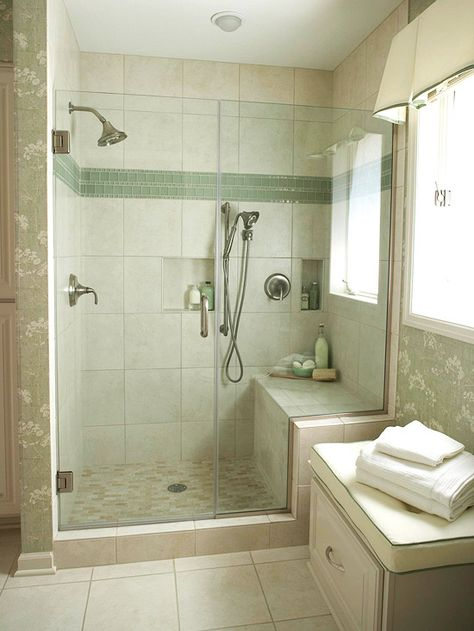 12 of 22  Spacious Shower  If you prefer to have just a shower in your bathroom, opt to eliminate the tub altogether and fill the space with a larger shower. This tub-size shower offers plenty of bathing space, plus a bench seat and small niches for bath necessities. A larger shower also provides room for dual showerheads, such as the wall-mount and handheld showerheads in this space.