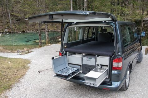 Campingbox FLIP  Very easy to put in the car (and out). Two separate boxes with all the comfort. Big bed. For VW T5, VW Touran, Citroen Berlingo, Peugeot Partner...