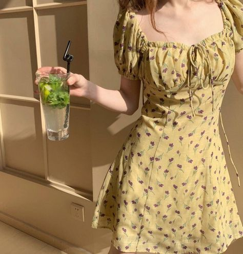 Beautiful Floral Print Yellow Summer Dress