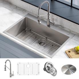 Kraus Kraus Stark 33 In Dual Mount Kitchen Sink And Pull Down