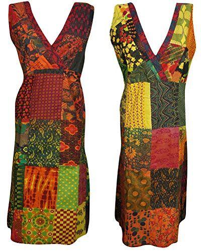 Women Bohochic Tank Dress Yellow Sleeveless Gypsy Bohemian Beach Comfy Summer Dress L