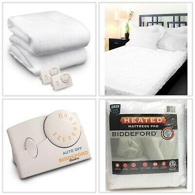 Details About Heated Mattress Pad Auto Off Control Machine Washable Pads Queen Size Biddeford Heated Mattress Pad Washable Pads Mattress Pad