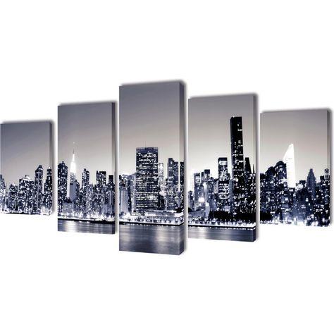 Set of 5 Monochrome New York Skyline Canvas Print Frame Wall Art Decor 200x100cm