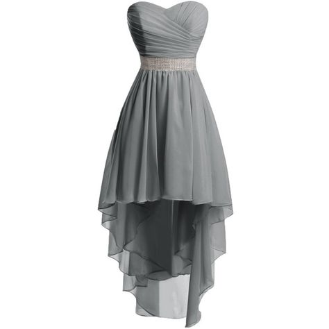 Chengzhong Sun Women High Low Lace Up Prom Party Homecoming Dresses (£28) ❤ liked on Polyvore featuring dresses, grey, cocktail prom dress, high low homecoming dresses, hi low dress, gray dress and homecoming dresses