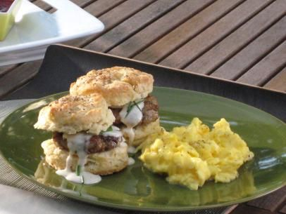 Buttermilk Biscuits with Eggs and Sausage Gravy