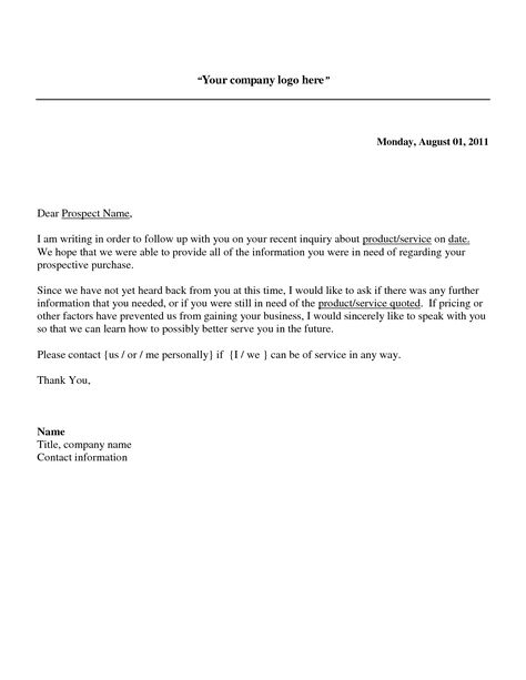 Follow up Sales Letter - A potential sales prospect has many - 2nd follow up email after interview