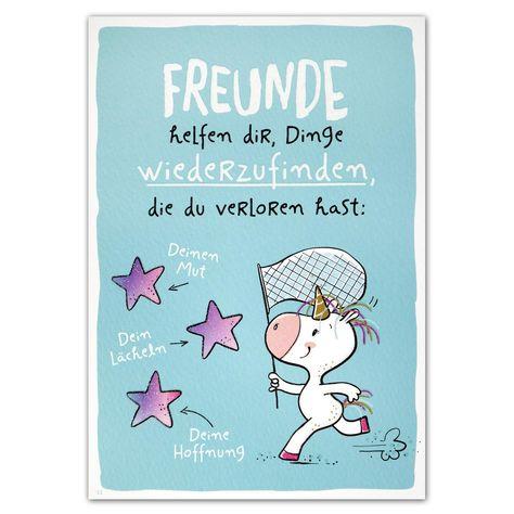 """Hope & Gloria Postkarte »Freunde« """"Freunde helfen dir, Dinge wiederzufinden, die du verloren hast: Deinen Mut --> Dein Lächeln --> Deine Hoffnung"""""""