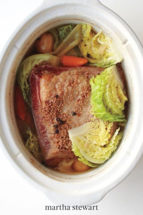 A busy cook's dream, this St. Patrick's Day favorite practically makes itself. Toss together corned beef brisket with vegetables and aromatics, push a button, and get ready for an uber-comforting meal. #marthastewart #recipes #recipeideas #comfortfood #comfortfoodrecipes