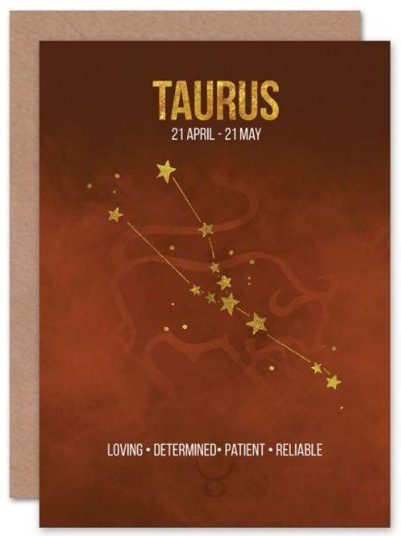 Humorous Card Star Sign Birthday Card Zodiac Card TAURUS BIRTHDAY CARD