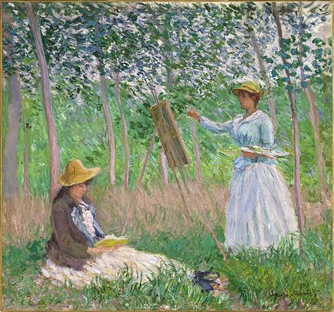 """Claude Monet, """"In the Woods at Giverny: Blanche Hoschedé at Her Easel with Suzanne Hoschedé Reading"""", 1887, LACMA"""