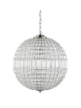 Luxe Collection Solara Crystal Ball Pendant Light In Chrome