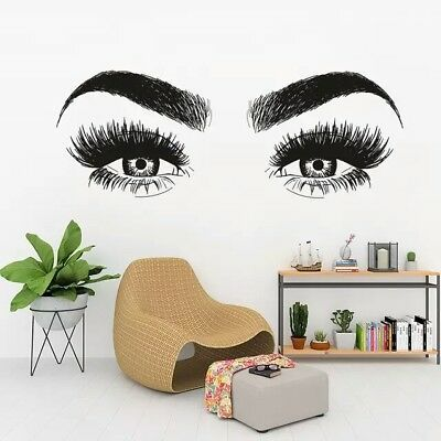 Eyelashes Art Vinyl Wall Decal Beauty Salon Sticker Home Decor Girl Eyes Bedroom