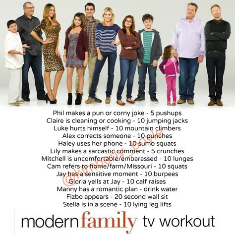Modern Family Workout Workout While You Watch Tv Tv Show Workouts Tv Workouts Movie Workouts