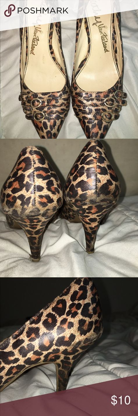 Kathy Spiked cheetah heels Visible wear spots but still in great condition. Jazz any outfit up! #cheetah #spikedheel #pumps #gold #kathyvanzeeland Kathy Van Zeeland Shoes Heels