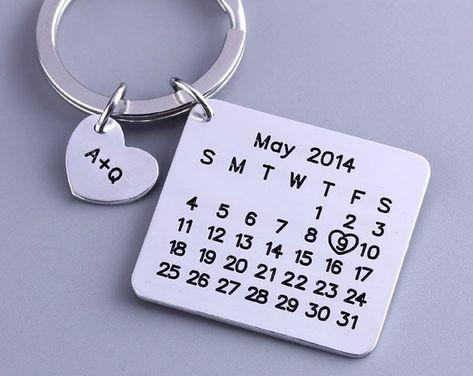 Personalized Calendar Keychain - Hand Stamped Calendar - Special Day Calendar - Anniversary, Wedding