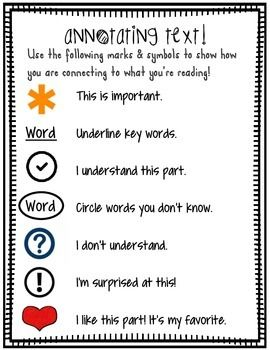 Annotating Text for Close Reading Student Handout (kinder-2nd grade