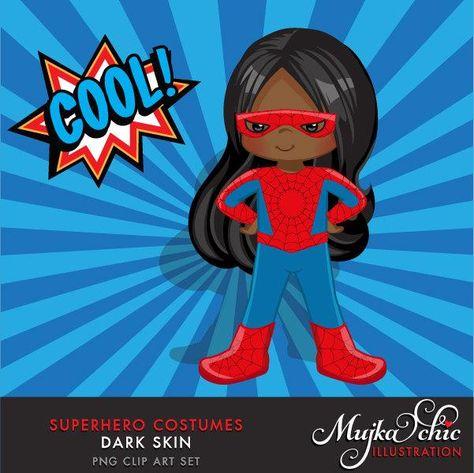 Superhero Clipart. Super black girl Costumes