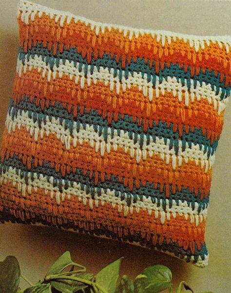 Striped crochet pillow pattern easy