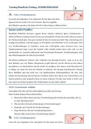 Fernbeziehungen Traininig Fur Die Mundliche Prufung B2 2 In 2020 Jung In Messages Texts