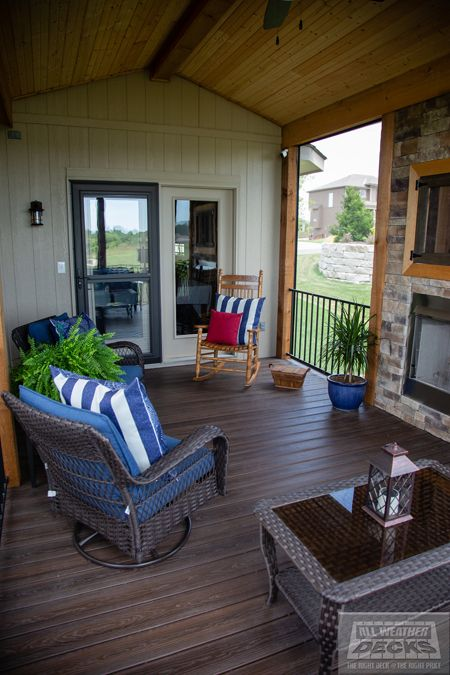 Gable Roof Over Deck Screened In Deck Fireplace In 2020 Patio Pictures Patio Patio Oasis Ideas