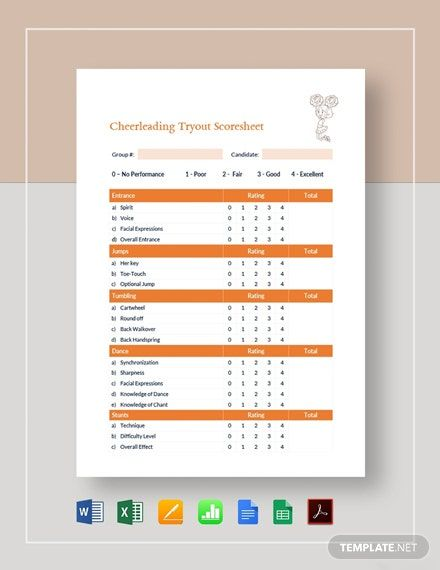 Cheerleading Tryout Score Sheet Template Pdf Word Doc Apple Mac Pages Google Docs Cheerleading Tryouts Cheerleading Templates