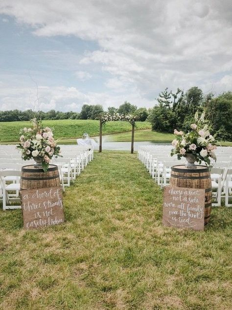 Top 20 rustic country wine barrel wedding ideas chic outdoor wedding ceremony ideas with white fabric and greenery arches weddingceremony wedding weddingceremonyaltars source by Wedding Ceremony Ideas, Wedding Aisle Decorations, Outdoor Wedding Aisles, Outdoor Decorations, Wedding Backdrops, Wedding Ceremonies, Ceremony Backdrop, Wedding Venues, Wedding Locations