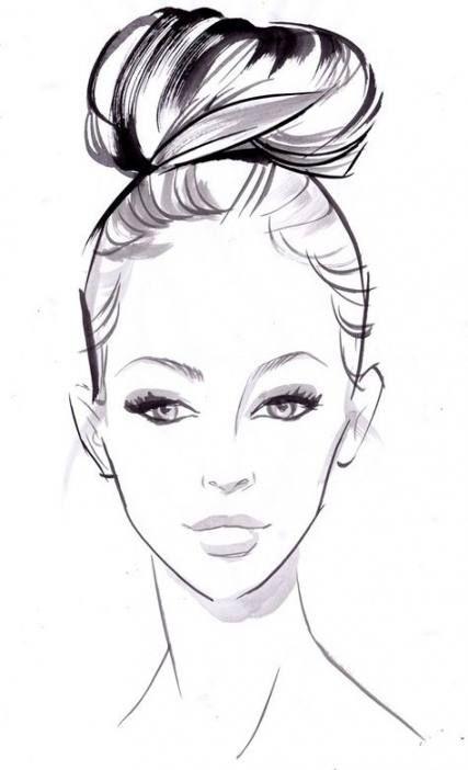 New Hair Drawing Messy Bun Ideas Fashion Illustration Face Face Illustration Face Sketch