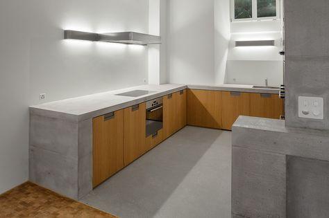 Küche mit Betonabdeckung corian design Pinterest Küche beton - k che aus beton selbst bauen