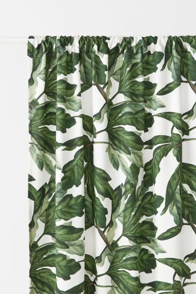 Green And White Patterned Curtains