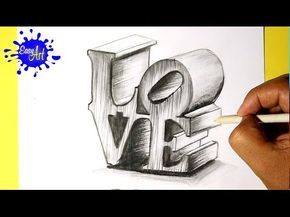 How To Draw Love How To Draw 3d Love Como Dibujar Amor En 3d Love 3d Drawings Graph Paper Drawings 3d Art Drawing