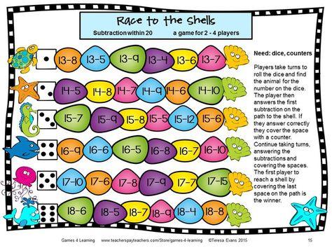 Ocean Animals Subtraction Games for Fact Fluency   Subtraction ...