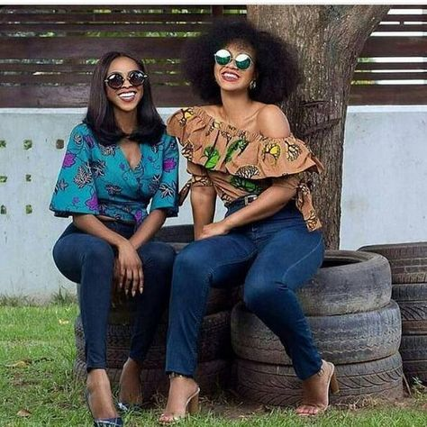 style women wearing african print...