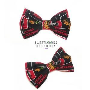 848f392399488 Chicago Blackhawks Bow Ties and Hair Bows | Sports Themed Wedding ...