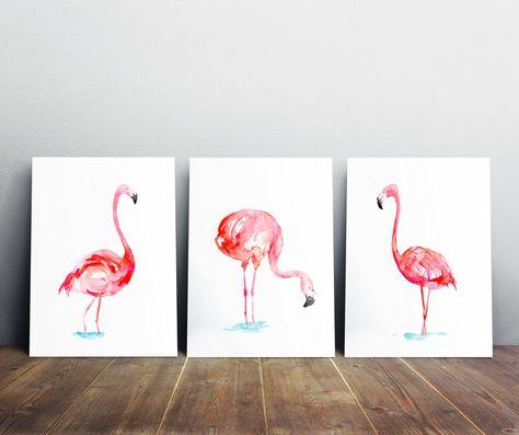 Flamant Art Set De 3 Tirages Flamingo Peinture Aquarelle Animaux