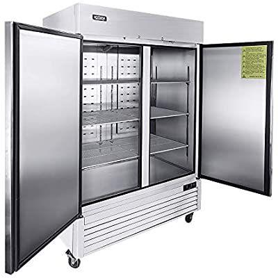 Amazon Com 2 Door Commercial Refrigerator Stainless Steel Upright Refrigerator With 6 Adjustable Shelves In 2020 Commercial Refrigerators Solid Doors Upright Fridge