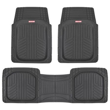 Motor Trend Triflex Car Rubber Floor Mats Odorless All Weather Protection 3 Pieces Black Rubber Floor Mats Rubber Flooring Car Floor Mats