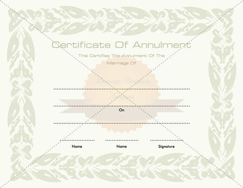 Annulment of Marriage Certificate Template - marriage certificate template