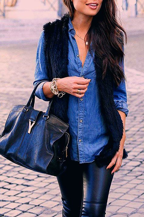 outfit with denim shirt, elegant and feminine style