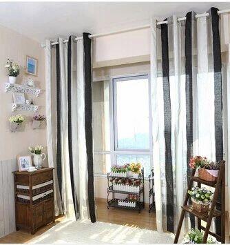 rideau voilage noir et blanc design