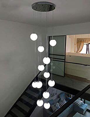 Bds Lighting 12 Glass Balls Staircase Chandelier Modern Pendant Lights For Villa Chandelier Duplex Staircase Long Chandelier L Home Lighting Interior Langebaan