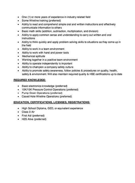 Wireline Operator Resume Skills - http\/\/resumesdesign - waitress resume description
