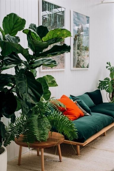 All the greens | emerald interiors inspiration | living room design  Bohemian green homestyle…