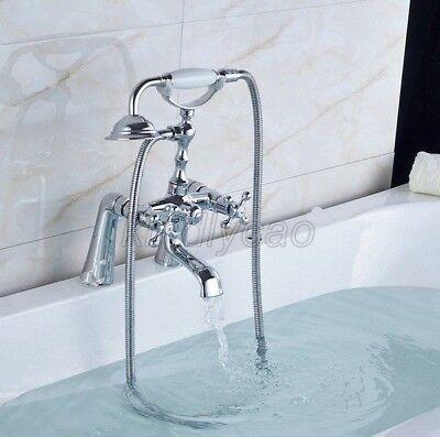 Advertisement Polished Chrome Brass Deck Mounted Clawfoot Bath