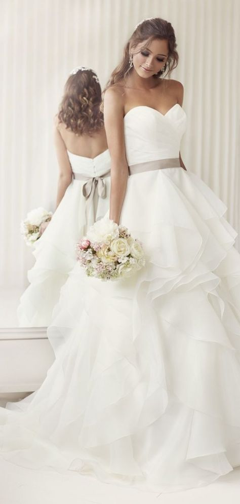Asymmetric Tiers Chapel Train Ball Gown Organza Wedding Dress