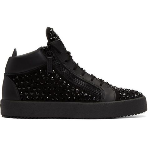 multiple colors promo codes footwear Giuseppe Zanotti Black Studded May London High-Top Sneakers ...