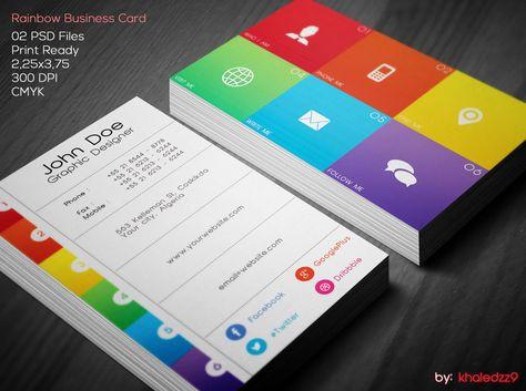 Rainbow Business Card by khaledzz9deviantart Business Cards