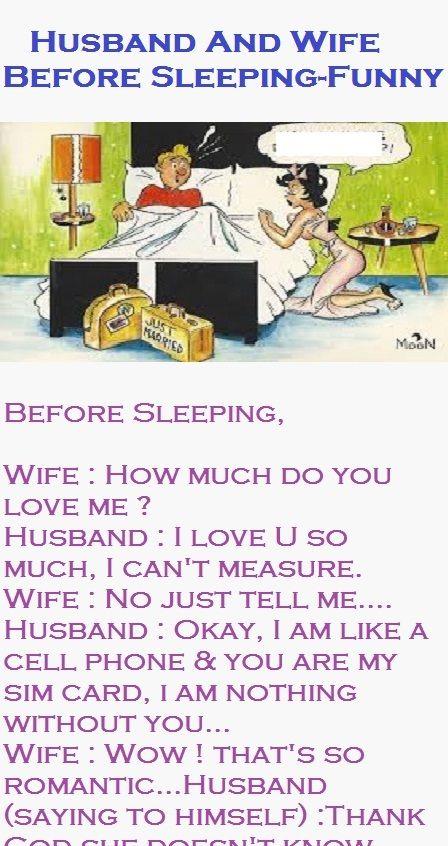 Husband And Wife Before Sleeping Funny Husband Jokes Husband Humor Sleep Funny