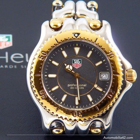 TAG Heuer S/EL Full size Man Twotone Polished 18K plated Gold/ Stainless steel with grey dial WG1120-0