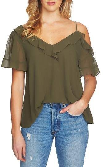b827d485238 1 STATE 1.STATE Ruffle Asymmetrical Top | Clothing